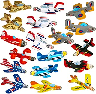 Best Birthday Party Favors for Kids - 72 Pack of Airplane Gliders Bulk Party Pack Individually Wrapped Flying Paper Planes – Assorted Designs - for Rewards and Prizes, Pinata Fillers, Carnival Prizes