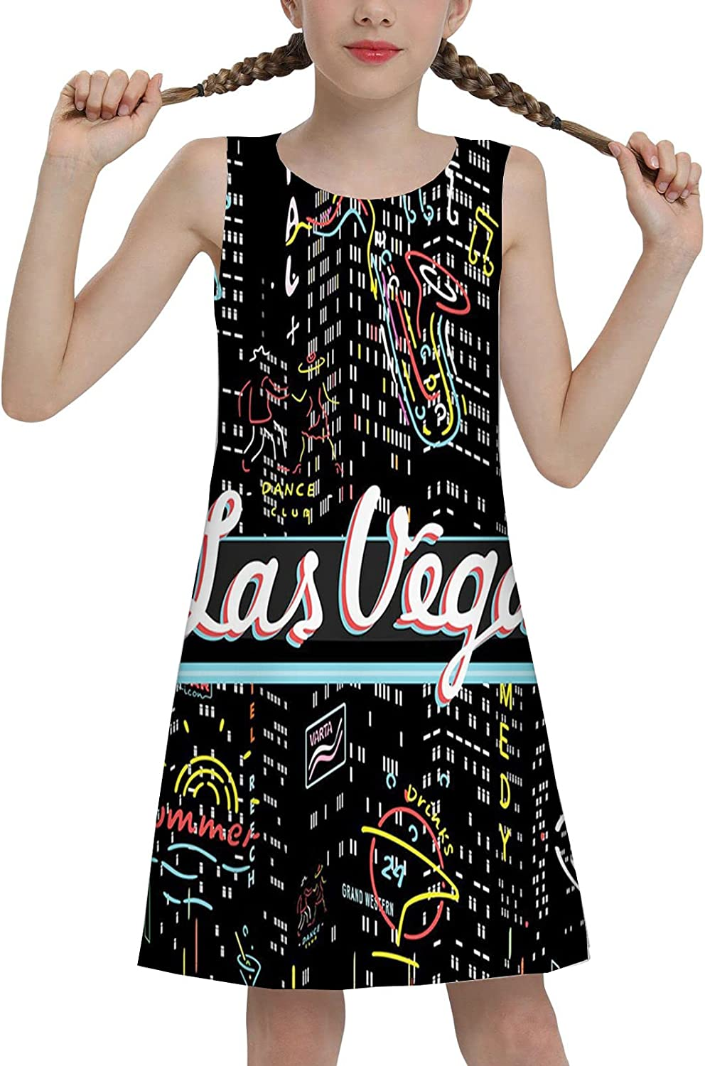 Girl's Floral Sleeveless Dresses Kids Sundress for Casual School Colorful Elements of Vegas Entertaintment Monochrome Buildings Sax and Bar Signs 2t