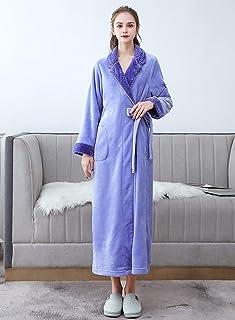 ZTIANR Robas De Lana para Mujer Bañera Larga De Peluche Suave Túnica De Kimono Grueso para Damas Abrigo De Casa Caliente D...