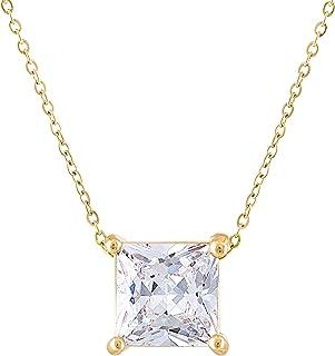 KISPER 18K Gold Plated Square Princess Cut 3 Carat (8mm) Cubic Zirconia Pendant Necklace
