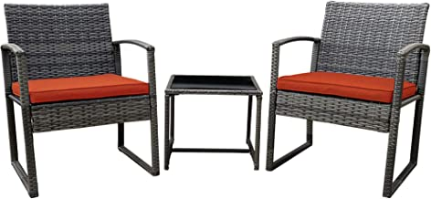 Pyramid Home Decor Vesso 3-Piece Outdoor Patio Furniture Set, Patio Rattan Chair Set, Modern Bistro Set with Coffee Table,...