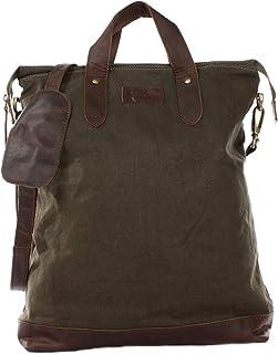 LECONI Shopper Leder + Canvas Vintage-Look Umhängetasche für Damen Henkeltasche große Beuteltasche DIN A4 Damentasche Hand...