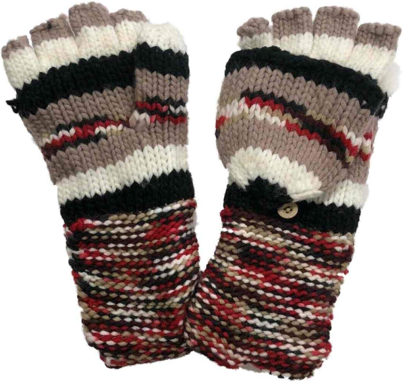 Womens Tan Ivory & Black Stripe Fingerless Knit Gloves Convertible
