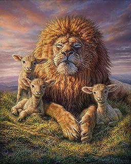 20x26 Inch Rhinestone Cross-stitch Lion and Lambs DIY Diamond Painting Kits Arts, Crafts & Sewing 5D Diamond Painting