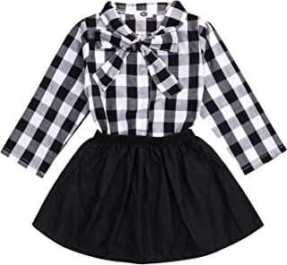 YOUNGER TREE Kids Toddler Baby Girls Fall Skirt Outfit Set Plaid Long Sleeve Blouse Shirt Top+Tutu Skirt Dresses 2Pc Winter Clothes