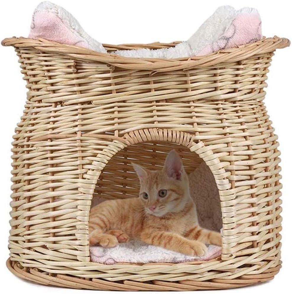 Cesta de mimbre hecha a mano de 2 niveles, para mascotas, gato, perro, cama con 2 cojines suaves