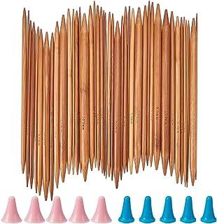 NBEADS 約85点セット 2mm-10mm 竹製 編み棒 編み針 くつした針 番号印刷 棒キャップ付き 手芸編み物 毛糸工具 セーター・マフラー・帽子・ニット・プレゼント・ギフトなど 手作り工具
