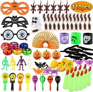 Baztoy Halloween Toys 110 pcs Kids Party Favors, Fun Gifts Fake Bugs Bat Rings Joke Toys Assortment, Bulk Decoration Kits, Theme Party Supplies, Teachers Rewards, Halloween Prizes, Goodie Bags