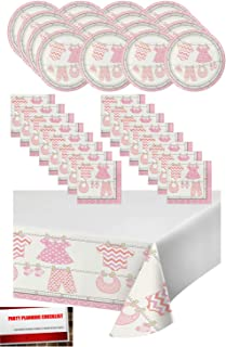 Pink Girl Baby Shower Party Supplies Bundle Pack for 16 - Plates, Napkins and Table Cover (Plus Party Planning Checklist by Mikes Super Store) (Girl Pink)