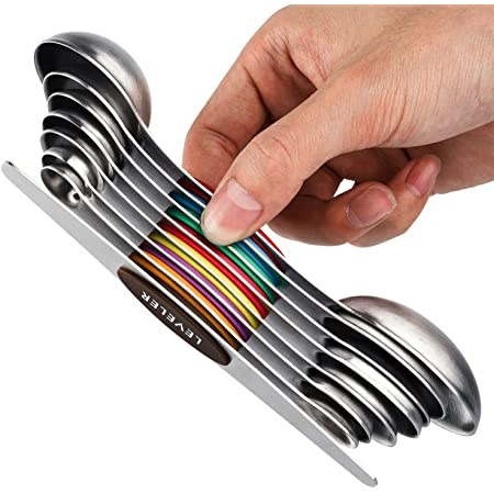 Juego de 8 cucharas medidoras magnéticas de acero inoxidable apilables de doble cara cucharada para medir ingredientes secos y líquidos