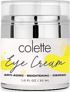 Colette Anti Aging Premium Eye Cream Moisturizer for Dark Circles, Eye Bags and Puffiness, Reduce Dryness Vitamin C, Vitamin E Aloe for Men and Women