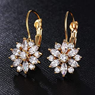 BESTPICKS Rose Gold Color Crystal Flower Stud Earrings for Women