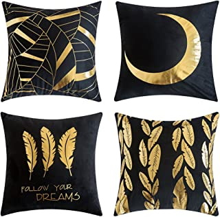 MIULEE Pack of 4, Gold Stamping Soft Solid Decorative Square Outdoor Throw Pillow Covers Set Cushion Case for Sofa Bedroom Car 18 x 18 Inch 45 x 45 cm