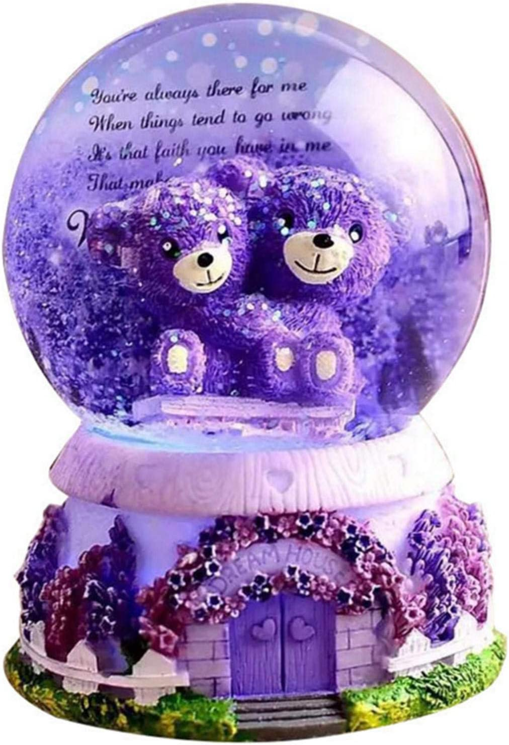 Lavender Bear Snow Globe Exquisite Water specialty shop Musical Purple Figurine Ranking TOP17