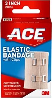 ACE 3 Inch Elastic Bandage with Hook Closure, Beige, No Clips