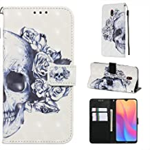 StarCity Xiaomi Redmi 8A Case, [Kickstand Feature] 3D PU Leather Flip Folio Wallet Case with Card Slots/Wrist Strap for Xiaomi Redmi 8A Multi-Colored