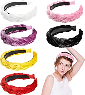 6 Pieces Velvet Braided Padded Headband Twisted Knotted Hair Accessories Velvet Wide Headband 90s Vintage Hair Band for Women
