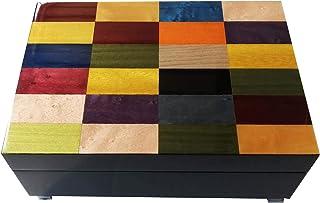 "Caja de música de madera con incrustaciones""Coloured Arlecchino Design"""
