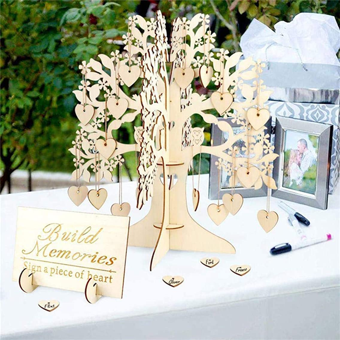 Tpingfe Wedding Guest Book Tree Wooden Hearts Pendant Drop Ornaments Party Decoration