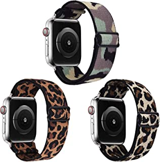 VISOOM Stretchy 3 Packs Bands Compatible with Apple Watch 38mm 40mm 42mm 44mm-Apple Watch Straps for iWatch Series 6/SE/5/4/3/2/1 Women Accessories (Leopard+Camouflage+Yellow Leopard, 38mm/40mm)