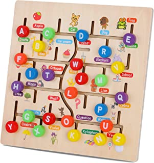 Wooden Alphabet Maze Board, ABC 26 Letters Match Puzzle Learning Toys Early Educational Motor Skill Activity Matching Game...