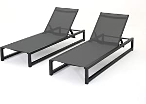 Christopher Knight Home Modesta Outdoor Aluminum Framed Chaise Lounges with Mesh Body, 2-Pcs Set, Black Finish / Grey Mesh