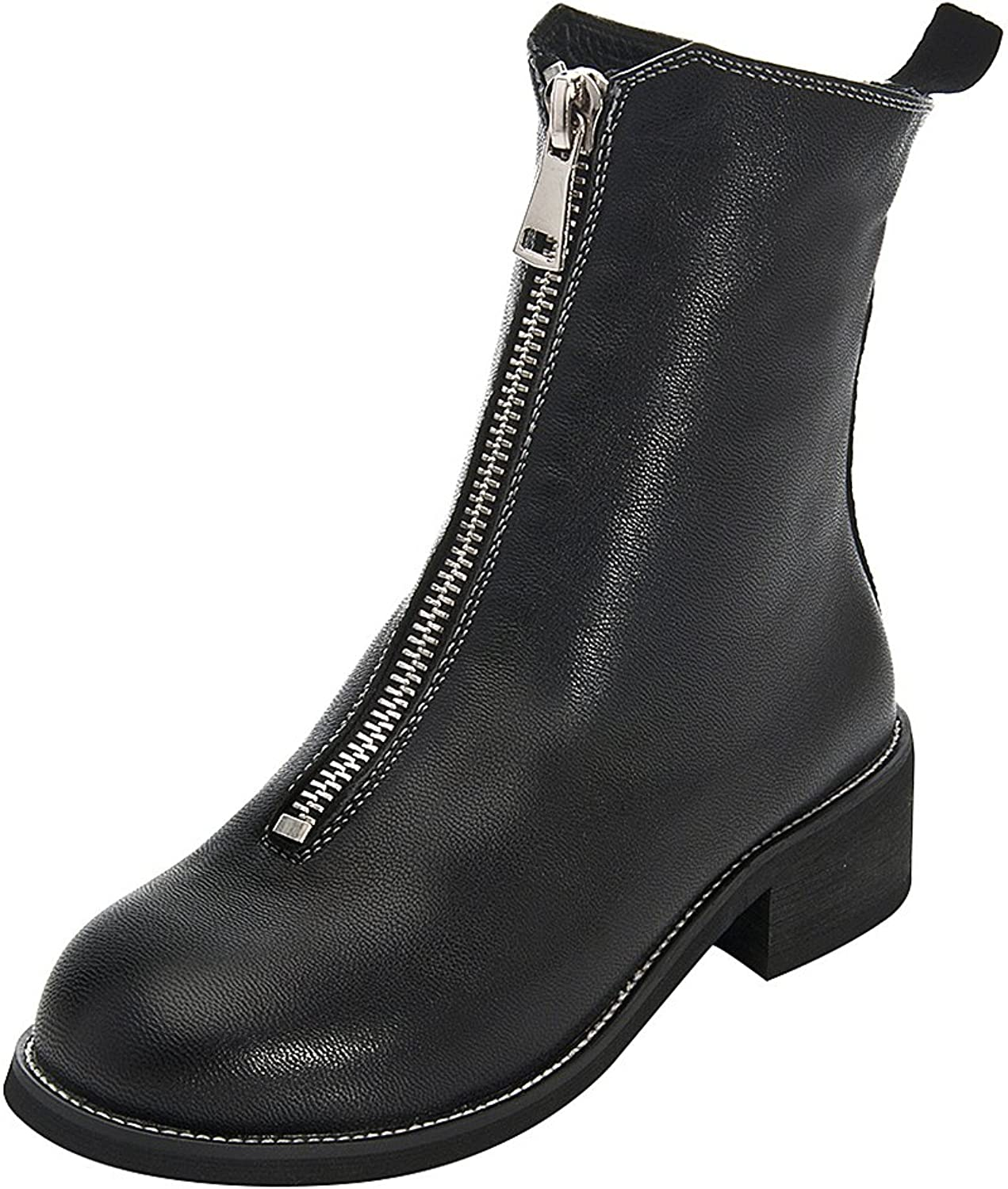 Rismart Women's Low Heel Mid Calf Zip Round Toe Leather Riding Boots