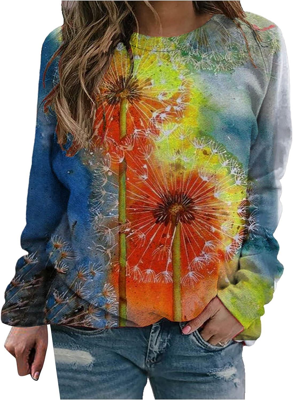 Sweatshirt for Women Casual Dandelion Printed Ladies Top Blouse Graphic O Neck Long Sleeves Pullover Sweatshirts