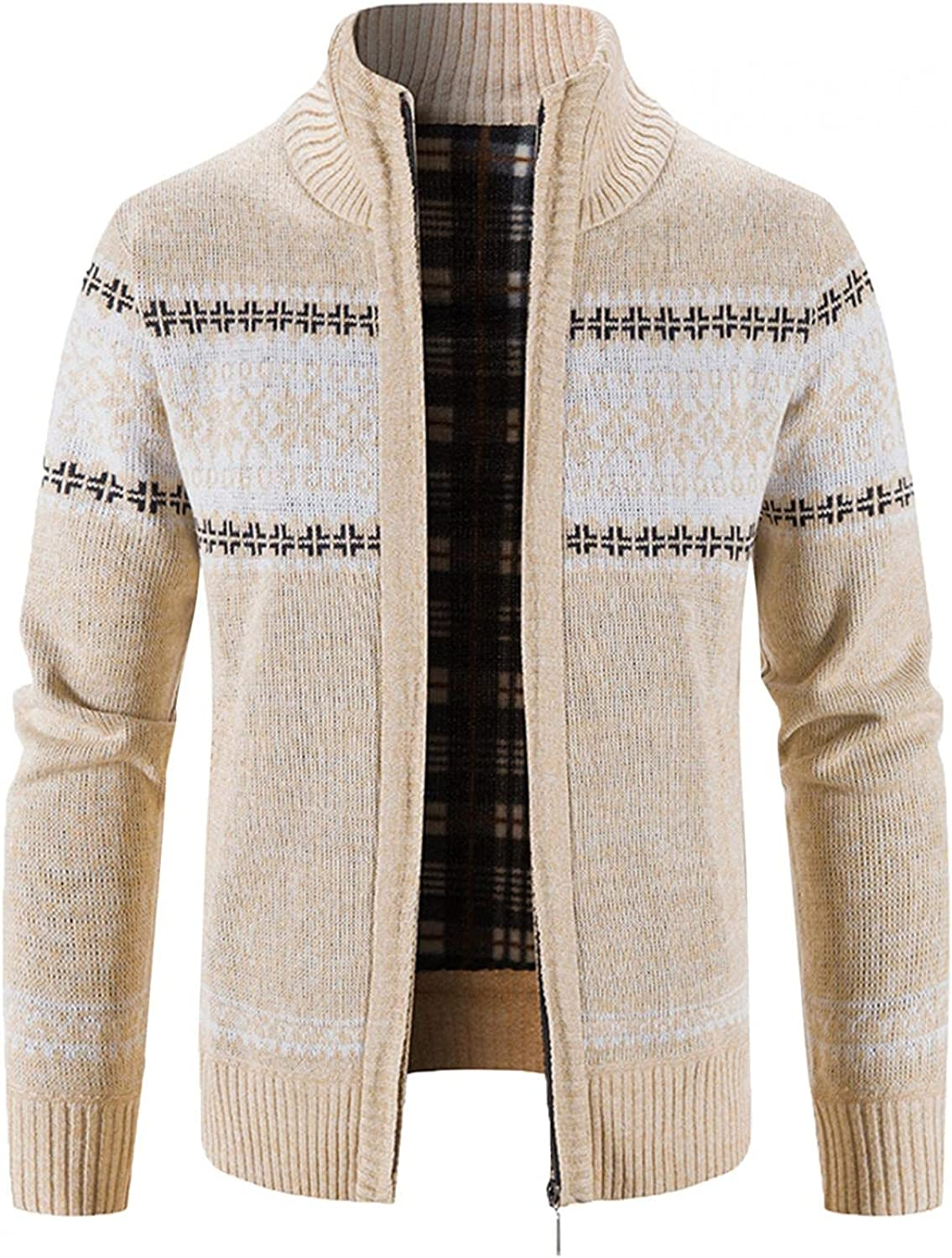Men's Knit Jacket Coat Block Printed Stand Collar Warm Cardigan Long Sleeve Trench Coat Blouse