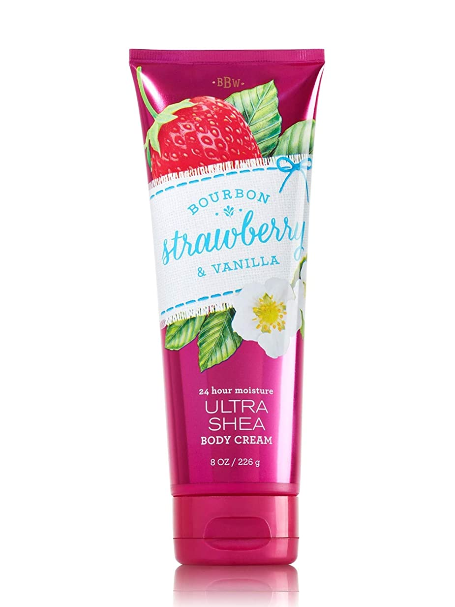 減らすイサカ遺伝的【Bath&Body Works/バス&ボディワークス】 ボディクリーム ブルボンストロベリー&バニラ Body Cream Bourbon Strawberry & Vanilla 8 oz / 226 g [並行輸入品]