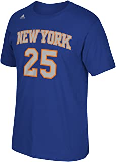 NBA New York Knicks Derrick Rose #25 Men's Game Time Short Sleeve Go-To Tee, Large, Blue
