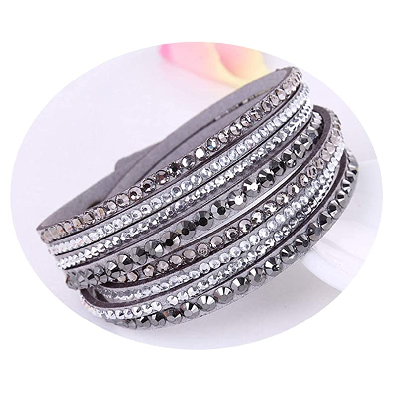 New Leather Bracelet Rhinestone Crystal Bracelet Wrap Multilayer Bracelets for Women Feminino Pulseras Mulher Jewelry fm250528576