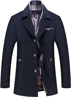 ELETOP Men's Coat Wool Jacket Single Breasted Winter Pea Coat Detachable Collar Windbreaker