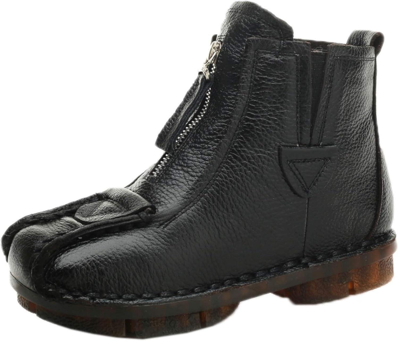 RHOMEIE Flat Platform favorite Ankle Boots for Toe Retro Round Sli Womens Translated