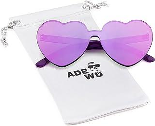 1f0d6e64ee ADEWU Lunettes de soleil sans monture en forme de coeur Lunettes de couleur  bonbon pour les