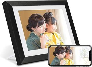 AEEZO WiFiデジタルフォトフレーム10.1インチIPSタッチスクリーンHDディスプレイ、16 GBストレージ、自動回転、無料のFrameoアプリを介した写真とビデオの共有、木製フレーム付きの壁に取り付け可能なデジタルフォトフレーム(黒)