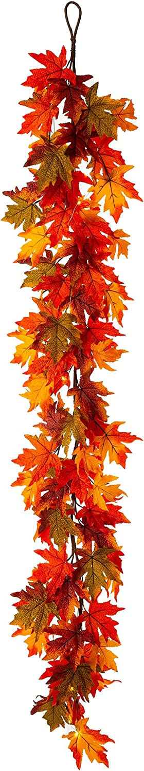 glitzhome 6 Super sale period limited ft Fall low-pricing Maple Autumn Lighted Garland Leaves