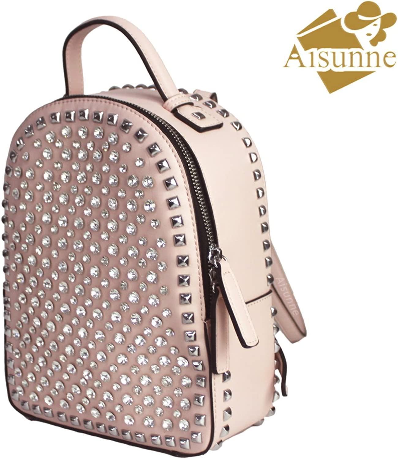 Aisunne Mini Backpack Handbags With Rivets Glitter Rhinestone For Girls Women Ladies Fashion Leather Small Shoulder Backpacks