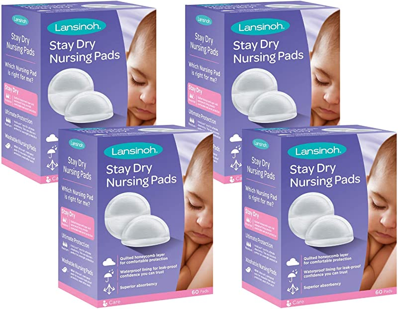 Lansinoh Stay Dry Disposable Nursing Pads 240 Count 4 Packs Of 60 Superior Absorbency Ultra Soft Leak Protection For Breastfeeding Non Toxic Milk Pads Nursing Essentials