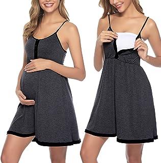 Sykooria Vestido de Mujer, Vestido de Lactancia camisón de algodón,Ropa de Dormir Suave con Botones para Embarazadas y Lactancia