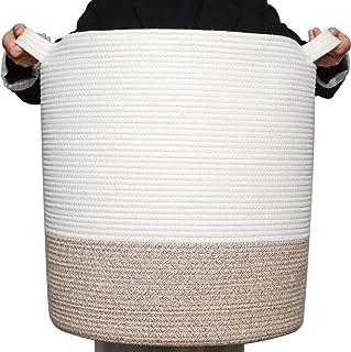 MINTWOOD Design Grand panier à linge décoratif en corde de coton tissé - 50,8 x 45,7 cm - Panier à linge - Panier de range...