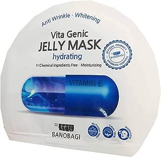 4 Mask sheets of BANOBAGI Vita Genic Jelly Mask Hydrating. Anti Wrinkle, Whitening, Moisturizing. Cotton 100%, Jeju Oxygen Water, No Fragrance. (30 ml./ sheet)