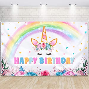 Unicorn Backdrop 73'' x 43'' - Rainbow Unicorn Party Decorations for Girls Baby Shower Unicorn Theme Birthday Party Supplies Large Photography Background Wall Banner Room Decor
