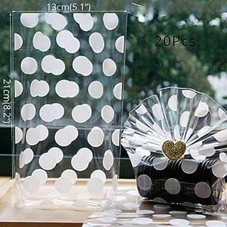 Polka dot gästfrihetspåse 13x21 cm cellofan presentpåse med botten för festgodis och kexpåse
