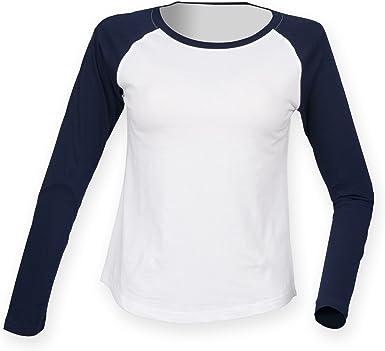 Skinnifit - Camiseta de manga larga estilo béisbol para mujer