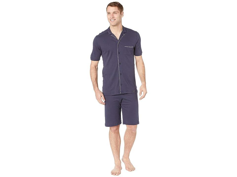 Hanro Night Day Short Sleeve Pajama (Black Iris) Men