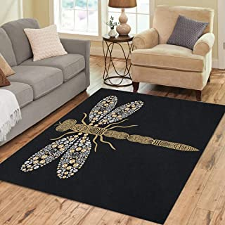 Semtomn Area Rug 2' X 3' Beautiful Pattern of Flying Dragonfly Shiny Gold Silver Home Decor Collection Floor Rugs Carpet for Living Room Bedroom Dining Room