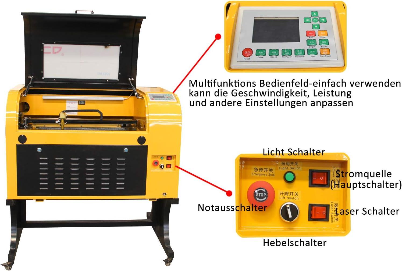 TEN-HIGH CO2 50W Laser Graviermaschine mit USB-Anschluss OFFLINE VERSION MEHRWEG Gravurbereich 600x400mm