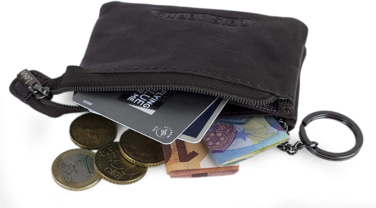 Monedero de Cuero Lois Monedas Llaves Billetes Tarjetas dni Llavero de Piel Genuina Peque/ño Cl/ásico Protecci/ón RFID 201459 Color Marron Oscuro