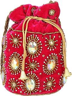 MAATANGI Traditionelle indische Potli-Tasche, Perlenstickerei und Zari-Arbeit auf Samtstoff.